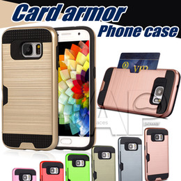 Wholesale Pc Card Cover Black - Wire drawing card PC+TPU Mobile Phone Case Cover For Iphone7 6s Samsung Galaxy S8 Plus LG K20 Plus lv3 Card Armor phone case