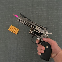 Pistola de muebles online-Python revólver encendedor de metal revólver tipo arma inflable a prueba de viento encendedor muebles adornos personalizados ornamentos 357 arma lighte