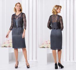 Wholesale Elegant Grey Wedding Dress - Grey 2016 Jasmine Mother Of The Bride Dresses Elegant Chiffon Knee Length With Lace Jackets Formal Prom Wedding Party Dress
