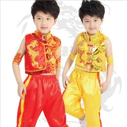Wholesale Children Dressed Traditional Clothing - Ethnic costumes Wushu costumes new dragon ethnic costume boy child kung fu martial arts clothes costume dress performance clothing