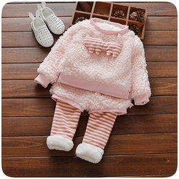 Wholesale Korean Warm Clothing - 2Piece 0-3Years Autumn Winter Baby Girls Outfits Kids Clothing Sets Soft Plush Warm Cartoon Top+Pants Korean Kids Clothes BC1383