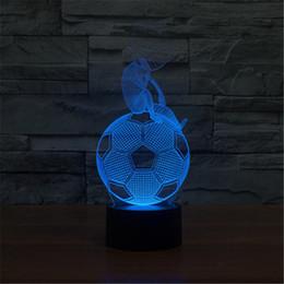Wholesale Usb World Cup - 3D Acrylic Colorful USB Nightlight Creative Children's World Cup Football Shape Christmas Gift LED Table Lamp-3D-TD164