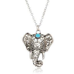Wholesale Vintage Initial - Necklaces & Pendants For Women Vintage Necklace Silver Turquoise Elephant Charm Pendant Chain Choker Jewelry Chain Pendant necklace