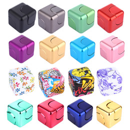 Wholesale Cubed Squared - New Alloy Cube Fidget Spinner Square Cube Zinc Alloy Electroplate Aluminum ABS Camouflage Hand Spinner Egg Ball Anti Stress Toys