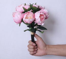 Wholesale Handling Peony - New High-grade Hand Made Simulation Flower PU Handle Beam Peonies 6 Silk Flower 2 Flower Buds