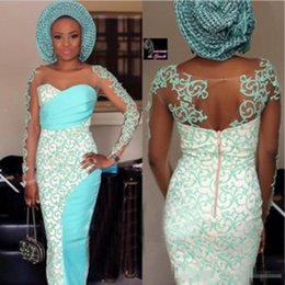 Wholesale Turquoise Petals - Jewel 2017 Long Sleeves White Evening Dresses With Turquoise Applique Sheath Back Zipper Custom Made Sheer Neck Formal Party Gowns Aso Ebi