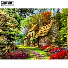 "Wholesale Cross House - Full Drill Square Diamond 5D DIY Diamond Painting""Flowers and houses""Diamond Embroidery Cross Stitch Rhinestone Mosaic Painting"