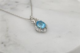 Wholesale Blue Diamonds Music - 925 Sterling Silver blue crystal four square zircon diamond Wedding High quality Jewelry Free Shipping music note Pendant Necklaces