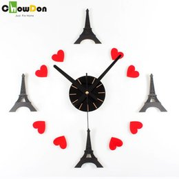 Wholesale Scenic Wall Clocks - New Arrival Europe Scenic Eiffel Tower Antique Style Acrylic Living Room Wall Clock Diy House Timer Home Decor Clocks