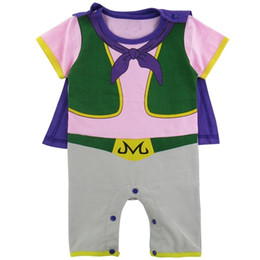 Wholesale Cotton Capes - Baby Boy Dragon Ball Z Cartoon Romper Buu Funny Costume Infant Party Playsuit Short Sleeve Jumpsuit With Cape DBZ Halloween Cos