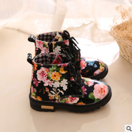 Wholesale Kids Boots Size 12 - Children ankle boots girls rose flowers printed casual shoes children lace-up BOWS matin booties fashion kids sneakers size 21-30 R0368