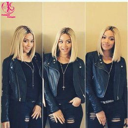 Wholesale Blonde Wig Natural Looking - Hot! naturl look High quality Blonde black ombre bob wig wirth dark roots glueless straight synthetic lace front wig heat resistant wig