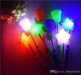 Wholesale Star Shaped Glow Sticks - Free Shipping New LED Glow Star Wand Mixed Rose Heart Shaped Stick Flashing Light Concert Party Novelty Led Toys