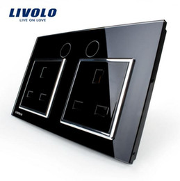 Wholesale Socket 13a - Livolo UK Standard Wall Power Socket, VL-C7C2UK-12, Black Crystal Glass Panel, Manufacturer of 13A Wall Outlet