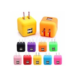 Wholesale Cute Iphone Plugs - Dual USB Port 2.1A Cute Travel Home Wall Charger Adapter US Plug For Cell Phone