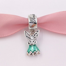 Wholesale Dresses Holidays - Authentic 925 Silver Beads Disny Tinker Bell'S Dress Glittering Green Enamel Charms Fits European Pandora Style Jewelry Bracelets 792138EN93