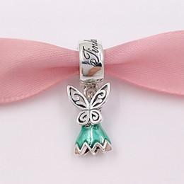 Wholesale Enamel Glitter - Authentic 925 Silver Beads Disny Tinker Bell'S Dress Glittering Green Enamel Charms Fits European Pandora Style Jewelry Bracelets 792138EN93