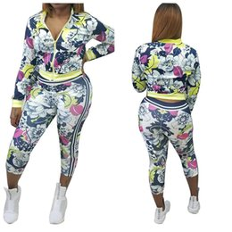 Wholesale Short Cardigan Buttons - Goods In Stock Fashion Autumn And Winter European Long Sleeve Sexy Twinset Women Sports Ladies Tracksuits Print Tops Two Suits