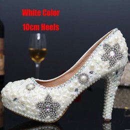 Wholesale Sexy Ivory Heels - Women Sexy High Heels Shoes Woman Thin Heel Handmade Party Rhinestone Pumps Platform Pumps Crystal Pearl Bridal Wedding Shoes
