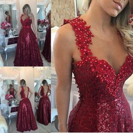 Wholesale Sparkly Pink Formal Dress - Sparkly Dark Red Sequined Prom Dresses 2017 Peals Beaded Lace Applique Sheer Neck Evening Gowns Open Back Formal Party Dresses