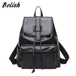 Wholesale Ladies Larger Size - Bolish PU Leather Women Backpack Preppy Style Girls School Bag Larger Size Travel Bag Black Color Ladies Backpack