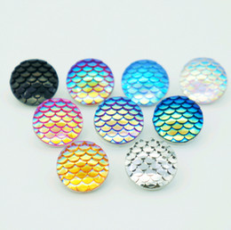 Wholesale Fishing Buttons - Hot sale NS0114 Beauty Charm Round Colorful Fish scales 18MM snap buttons for DIY ginger snap Jewelry Accessories charm wholesale