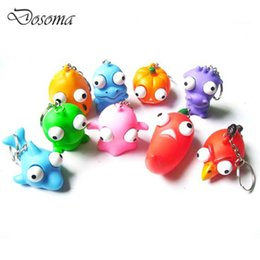 Wholesale Pop Eyes Animal Toy - Wholesale- 10 Pcs Creative Cartoon Animal Keychain Pop Out Eyes Doll Venting Decompression Squeeze Toys Anti Stress Extruding Kids Gifts