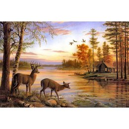 Wholesale river digital - Rivers Deer Scenery Thomas Oil Paintings HD Print Painting On Canvas Wall Art Picture Modern Fashion Home Decoration