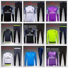 Wholesale Child Jogging Suit - 2016 Kids Long Sleeve Real Madrid Tracksuit Jogging Boys Soccer Sets Football Suits Youth Sport Wear Children Ronaldo training Kits