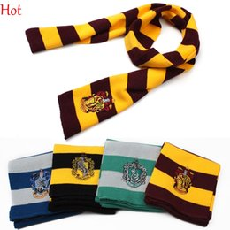 Wholesale Women Yellow Costumes - 17X150CM New Fashion College Scarf Harry Potter Scarf With Badge Cosplay Knit Scarves Costume Striped Scarf 4 Colors 19576