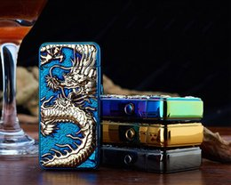 Wholesale Electronic Cigarette Dragon - 2016 New Dragon Embossed Double Arc Cigarette Lighter USB Charging Pulse Arc Metal Tobacco Cigarette Lighters