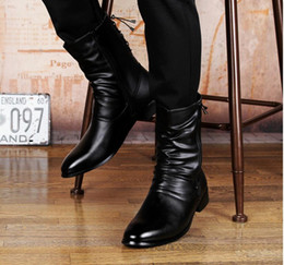 Wholesale Mens Dress Winter Boots - Fashion Luxury Brand Mens Leather Boots Genuine Zipper Pointed Toe Black Leather Joint Italian Designer Dress Mid Calf botas
