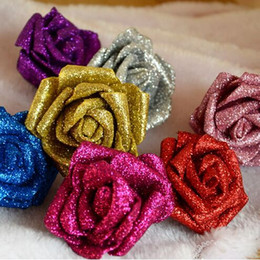 style wedding glitter Coupons - Modern Style 50 PCS PE Foam Rose Flower 6cm Glitter Rose Head Handmade DIY Wedding Home Decoration Wholesale Price