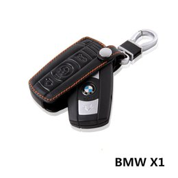 Wholesale Keychain Ring Holder - Leather Cowhide key Holder Case ring BMW X1 Dedicated Buttons Keychain cover accessories
