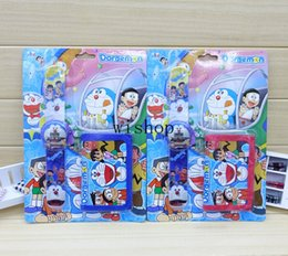 Wholesale Doraemon Girls Watches - Wholesale-New 12 sets Popular Doraemon Clap Watch Digital Datches And Wallet Set Puzzle Electronic Toys Boy Girl Gift E-57