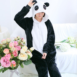 Wholesale Chinese Panda Costume - Wholesale-Autumn and Winter Flannel Panda Pajama Suit Animal Cartoon Couple Long-sleeved Chinese Market Online Funny Costumes Adults