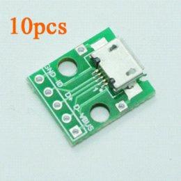 Wholesale Micro Usb Hdmi Adaptor - 10pcs Female 2.54mm MICRO USB to DIP 5Pin Pinboard Adaptor B type Pcb Converter usb adapter 3.5 mm
