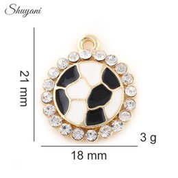 Wholesale Crystal Football Charms - Sports Football Charms Pendants Crystal DIY Floating Locket Charms for Locket Necklace Jewelry Making 21*18mm 10pcs