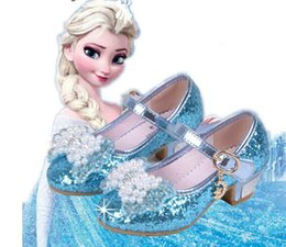 Wholesale Dancing Cow - Sequin Glitter Children Elsa Shoes Girls High Heels Pumps Kids Snow Queen Party Beading Dance Shoes For Girls Sandals With Bow HJIA442