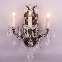 Большие свечи онлайн-Большая большая роскошная ванная комната тщеславие настенные светильники / fashional античная ржавчина французская хрустальная свеча настенный светильник / светильник
