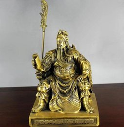 Wholesale Carving Chairs - China brass copper Gong Yu Guan Gong warrior sit Dragon Chair read Book Statue
