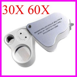 Wholesale Double Magnifying Glass - 9889 LED Double-Multiple Jewelry Identifying Type 30X 22mm 60X 12mm Dual Magnifier Jewelry Loupes Jeweler Magnifying Glass Microscope
