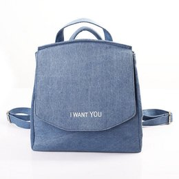 Wholesale Japan Fashion Jeans - Wholesale- Denim Canvas Backpack for Teenagers girls women vintage school students preppy female jeans backpacks fashion bags brand XA738B