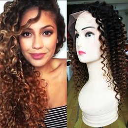 Wholesale Two Toned Curly Hair - Ombre Curly Wigs Unprocessed Peruvian Hair Two Tone color Lace Front Wig   Full Lace Human Hair Curly Wig With Baby Hair