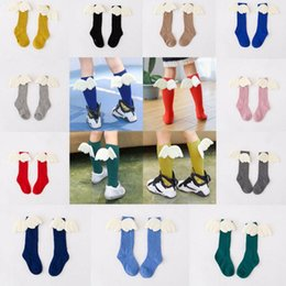 Wholesale child girl knee high socks - Baby Socks Angel Wings Knee High Socks Toddler Stockings Children Cotton Hosiery Fashion Wings Tube Socks KKA2408