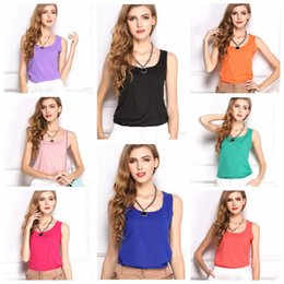 Wholesale Tank Tops For Ladies - 11 Colors Fashion Women Ladies Sleeveless Vests Candy Chiffon Camisoles Tanks Summer Solid Tank Tops For Girls CCA7326 50pcs