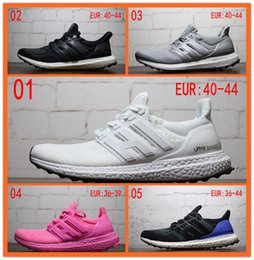 Wholesale Womens Pink Tops - [with original box] 2016 Ultra Boost Triple White Black Pink Grey Womens Mens Top quality Shoes Mens sport sneakers running shoes