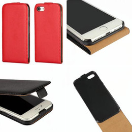 Wholesale Iphone Genuine Leather Pouch - For Iphone 7 Plus I7 7Plus Iphone7 6 6S I6 Genuine Flip Leather Pouch Case Real True Vertical Plain Cell phone Smooth Hard Cover skin Luxury