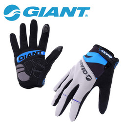 Wholesale Brand Gel - GIANT Brand Cycling Gloves Bicycle Sports Full Finger Touch Screen Gloves GEL Pad Shock Absorption Bicycle Gloves Guantes Ciclismo