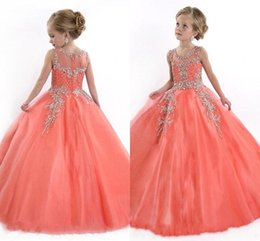 Wholesale Cupcake Shirts - 2016 Peach Girls Pageant Dresses for Teens Cute Cupcake Tulle Floor Length Dresses For Kids Formal Long Beaded Pageant Gowns For Girls